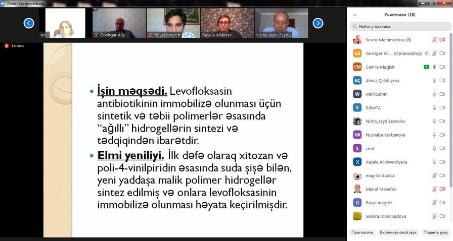 AMEA-nın Kataliz və Qeyri-üzvi Kimya İnstitutunun II kurs magistrantlarının dissertasiya işlərinin onlayn müdafiəsi keçirilib.
