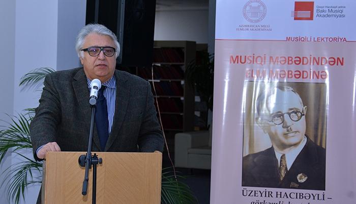 AMEA-da görkəmli bəstəkar Üzeyir Hacıbəyliyə həsr olunan musiqili lektoriya keçirilib