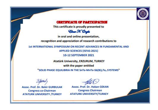 Kataliz və Qeyri-üzvi Kimya İnstitutunun əməkdaşları onlayn keçirilən Beynəlxalq  Konfransın sertifikatına layiq görülmüşlər.