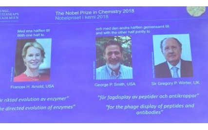 Winners of the Nobel Prize in chemistry for 2018