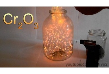 Xrom oksidi ilə kimyəvi vulkan və odlu çovğun