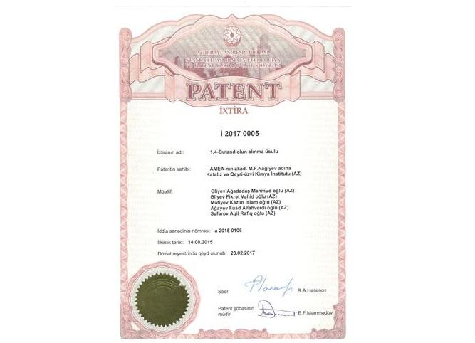 İnstitutun «Oksidləşdirici heterogen kataliz» şöbəsinin müdiri, akademik A.Əliyev və onun əməkdaşları «1,4-Butandiolun alınma üsulu» adlı patenti aldılar
