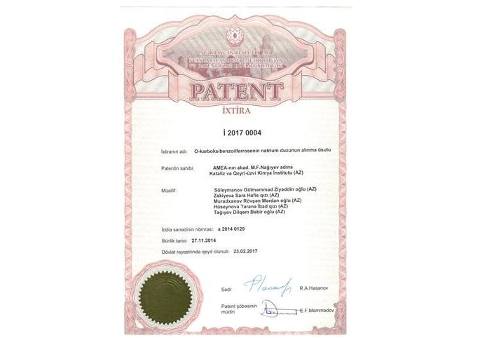 İnstitutun «Metal üzvi birləşmələr əsasında nanokatalizatorlar» lab. müdiri, k.e.d. G.Süleymanov və onun əməkdaşları «O-karboksibenzoilferrosenin natrium duzunun alınma üsulu» adlı patenti alıblar