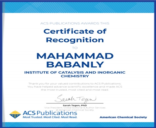 Kimyaçı alim Amerika Kimya Cəmiyyəti tərəfindən sertifikata layiq görülmüşdür.