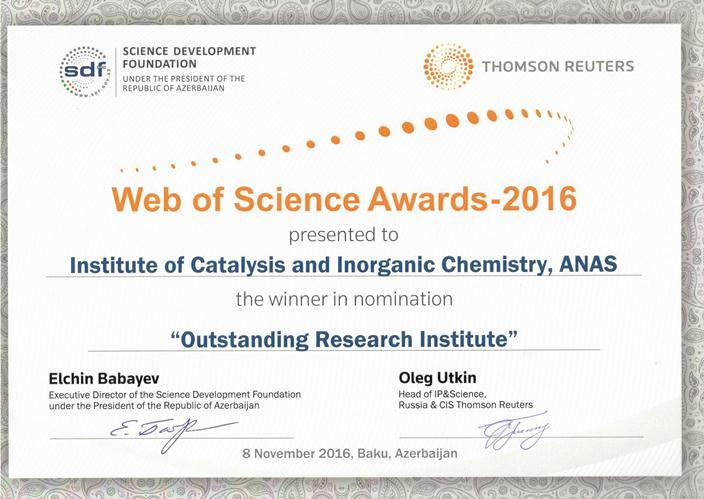 """Elmin İnkişafı Fondu və """"Thomson Reuters"""" şirkəti """"Web of Science"""" mükafatları -2016""""nı təqdim etdi"""